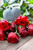 Colorful flower bouquet from red roses and heart shape Royalty Free Stock Photo