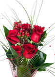 Colorful Flower Bouquet from Red Roses Isolated on White Backgro Royalty Free Stock Image