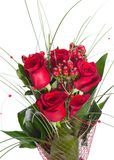 Colorful Flower Bouquet from Red Roses Isolated on White Backgro Royalty Free Stock Images