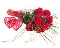 Colorful Flower Bouquet from Red Roses and Two Hearts Isolated. Royalty Free Stock Photography