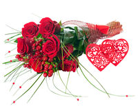 Colorful Flower Bouquet from Red Roses and Two Hearts Isolated. Stock Photos