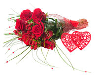 Colorful Flower Bouquet from Red Roses and Two Hearts Isolated. Royalty Free Stock Images
