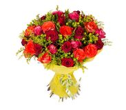 Colorful flower bouquet from red roses on white background Stock Image