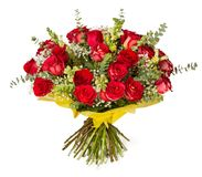 Colorful flower bouquet from red roses on white background Royalty Free Stock Photography