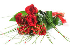 Colorful Flower Bouquet from Red Roses on White Background. Closeup Royalty Free Stock Image