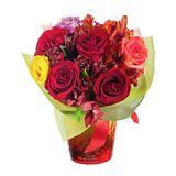 Colorful flower bouquet in red vase isolated on white background Stock Images