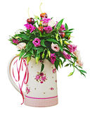 Colorful flower bouquet from roses and fruits in vase isolated o Royalty Free Stock Photography