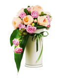 Colorful flower bouquet from roses and peon flowers in vase isol Royalty Free Stock Photos