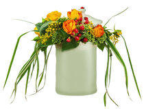Colorful flower bouquet from roses in white vase isolated on whi Royalty Free Stock Photography