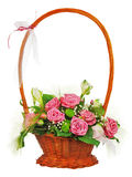 Colorful flower bouquet from roses in wicker basket  isolated on Royalty Free Stock Image