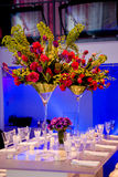 Colorful flower bouquet and table Stock Photo