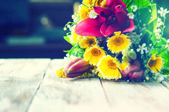 Colorful flower bouquet on the table Stock Photos