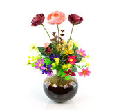 Colorful flower bouquet in vase isolated on white background Royalty Free Stock Images
