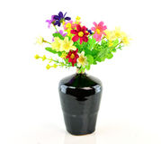 Colorful flower bouquet in vase isolated on white background Royalty Free Stock Photography