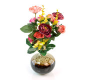 Colorful flower bouquet in vase isolated on white background Stock Images