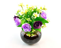 Colorful flower bouquet in vase isolated on white background Stock Photos