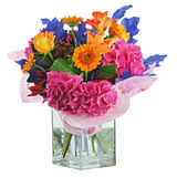 Colorful flower bouquet in vase isolated on white background. Stock Photography