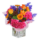 Colorful flower bouquet in vase isolated on white background. Royalty Free Stock Photography