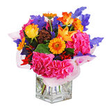 Colorful flower bouquet in vase isolated on white background. Stock Photo