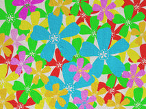 Colorful flower on  brown cement wall Stock Image