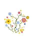 Colorful flower deco. Swirly flower decoration in colors green, yellow, blue, pink and beige stock illustration