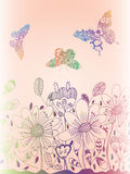 Colorful flower doodle with butterfly on pink background Stock Image