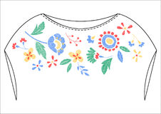 colorful flower embroidery artwork design for fashion wearing Stock Photo