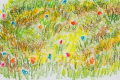 Colorful flower field crayon painted texture background. Colorful flower field  crayon painted texture background Stock Images