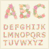 Colorful flower font. Vector colorful flower font. Vector Illustration stock illustration