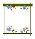 Colorful flower frame. Frame decorated with colorful flowers and hearts stock illustration