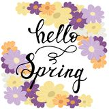 Colorful flower frame card with hello spring lettering. Inscription. Cartoon  illustration Royalty Free Stock Photo