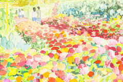Colorful of flower garden and emotion in green leaves background. Watercolor landscape painting colorful of flower garden and emotion in original painting Stock Photo