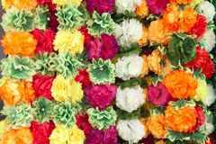 Colorful flower garlands. Colorful flower garlands used for decorating the god in hindu temples Stock Photos