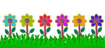 Colorful flower on grass field made from plasticine Stock Image