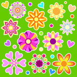 Colorful flower and heart collection Royalty Free Stock Photography