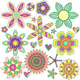 Colorful flower and heart collection Stock Image