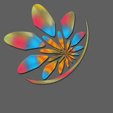 Colorful flower icon. A colorful flower icon for a company logo on grey background Stock Images