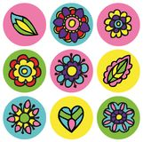 Colorful flower icons in circle set Royalty Free Stock Image
