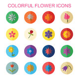 Colorful flower icons with shadow Stock Photography