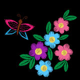 Colorful flower with leaf and butterfly embroidery stitches imit Stock Photos