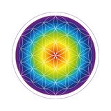 Colorful flower of life geometry in rainbow colors royalty free illustration