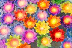 Colorful flower light candle float in the water Stock Images