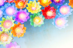 Colorful flower light candle float in the water Royalty Free Stock Images