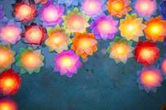 Colorful flower light candle float in the water Royalty Free Stock Image