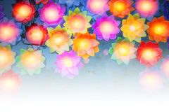 Colorful flower light candle float in the water Royalty Free Stock Photos