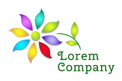 Colorful flower logo template Royalty Free Stock Images