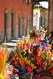 Colorful flower market, San Miguel, Mexico. Colorful flower market under the arcaded sidewalk of colonial San Miguel de Allende, Mexico Royalty Free Stock Photography
