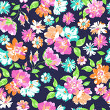 Colorful flower mix on navy background - seamless print Stock Photo