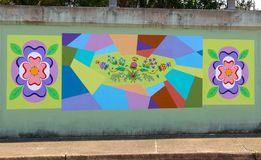 Colorful Flower Mural Painting On James Road in Memphis, Tennessee. Stock Image