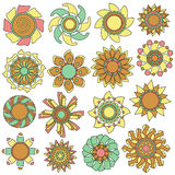 Colorful flower ornament collection Royalty Free Stock Image